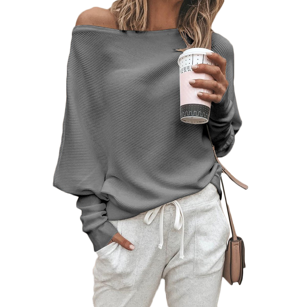 YJSFG HOUSE Womens Fashion Sweaters Sexy Off Shoulder Long Sleeve Sweater Ladies Knitted Jumper Pullover Top Autumn Winter Sweat