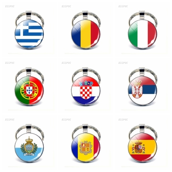 Southern European Countries Flag Keychain Spain Italy Portugal Croatia Greece Romania Andorra Flag Keychain Foreign Friends Gift image