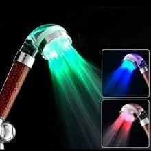 Светодио дный светодиодный Анионный Душ Спа Душевая Головка под давлением контроль температуры воды красочный ручной Большой Дождь душ