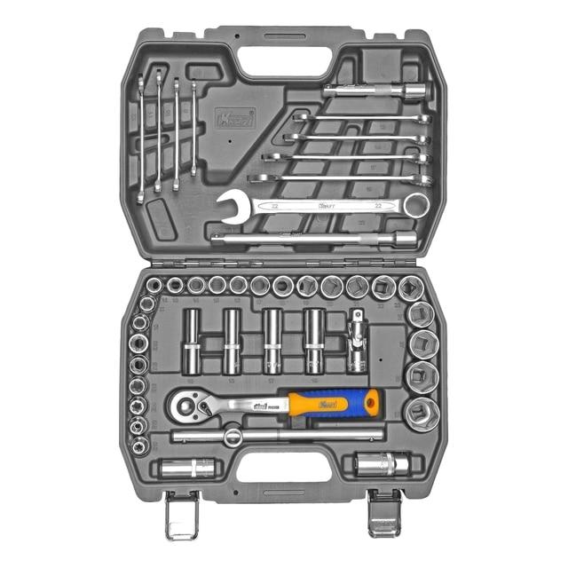 """Набор ручного инструмента KRAFT КТ 700683 (44 предмета)(44 предмета, торцевые головки 1/2"""": 11-32 мм, удлинители, ключи комбинированные: 8-22 мм, кейс в комплекте)"""