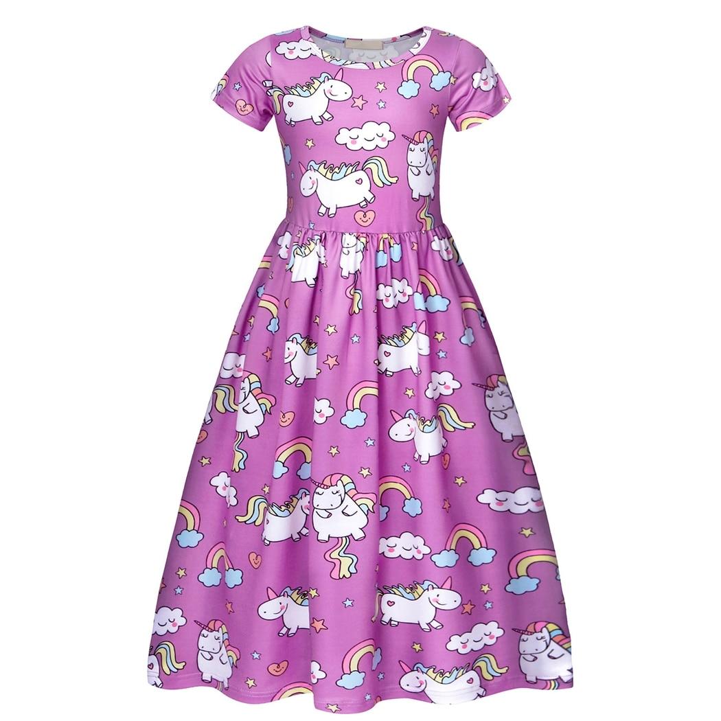 AmzBarley Unicorn Dress For Girl Printed Stars Rainbow Short Sleeve Pageant Pleated Birthday Party Fancy Dresses
