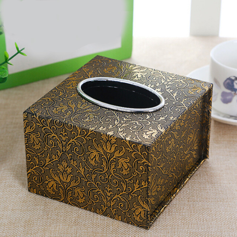 Retro Stylish Square Tissue Holder Faux Leather Waterproof Box Home Office Tissue Box Container Napkin Holder