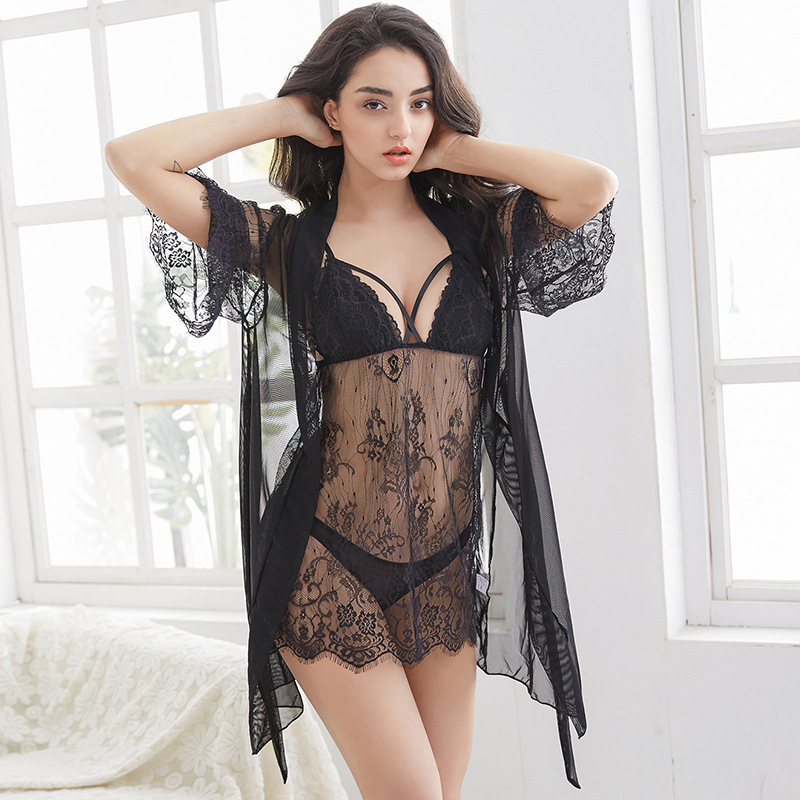New Pattern 3 Pcs Hollow Sexy Women Robe Set Nightdresss+Cardigan+G-String Fashion Sleepwear