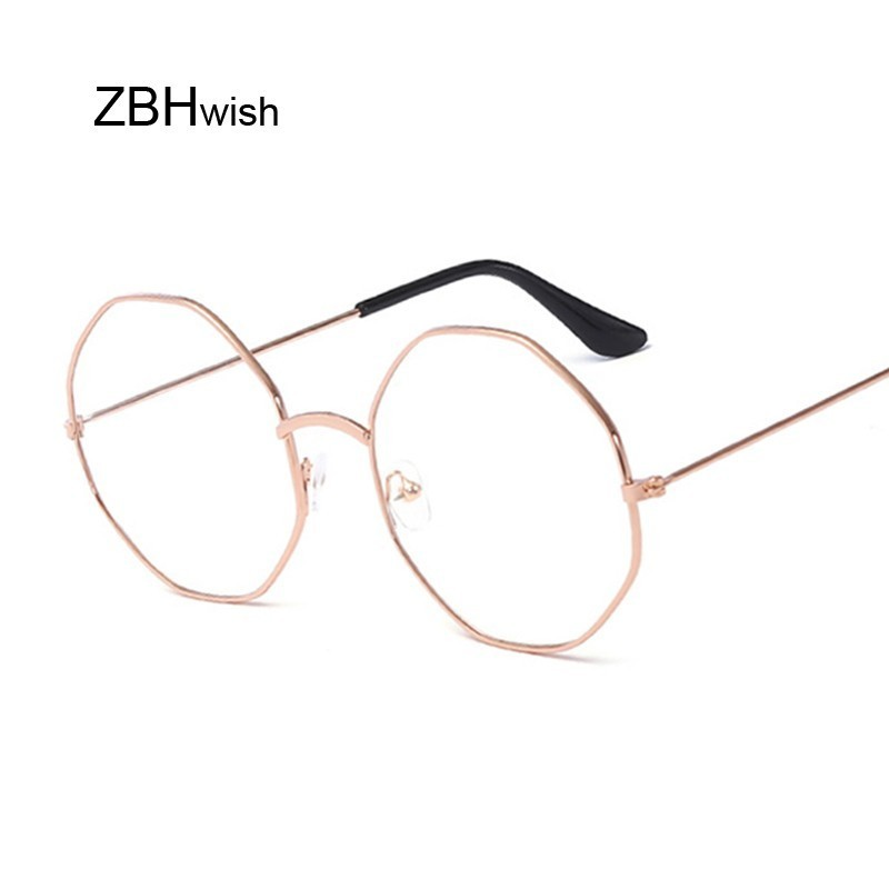 Fashion Vintage Retro Metal Frame Clear Lens Glasses Nerd Geek Eyewear Eyeglasses Oversized Round Circle Eye Glasses Transparent