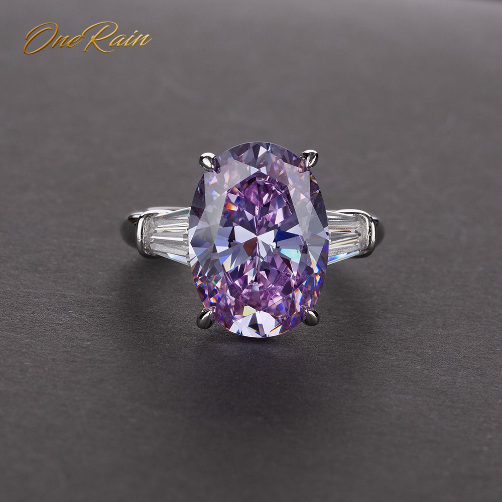 OneRain Vintage 100% 925 Sterling Silver 10 * 14 MM Oval Amethyst Pink Sapphire Wedding Engagement Couple Ring Jewelry Size 5-12OneRain Vintage 100% 925 Sterling Silver 10 * 14 MM Oval Amethyst Pink Sapphire Wedding Engagement Couple Ring Jewelry Size 5-12