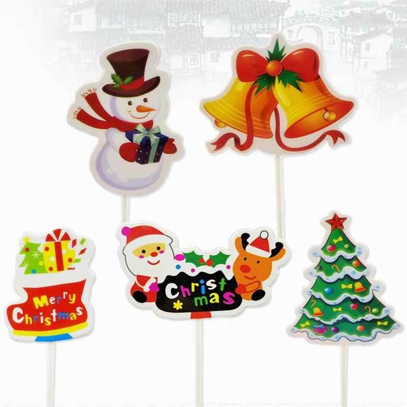5pcs חג המולד Cupcake עוגת Toppers קישוטי מאפין פירות מזון מרים מקלות אריזת מתנה חג המולד עץ סנטה קלאוס Toppers
