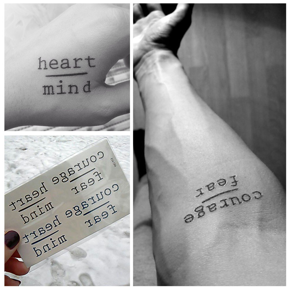 New Waterproof Temporary Tattoo Stickers Courage Fear Heart Mind Letters Design Water Transfer Tattoo Harajuku Fake Tattoo