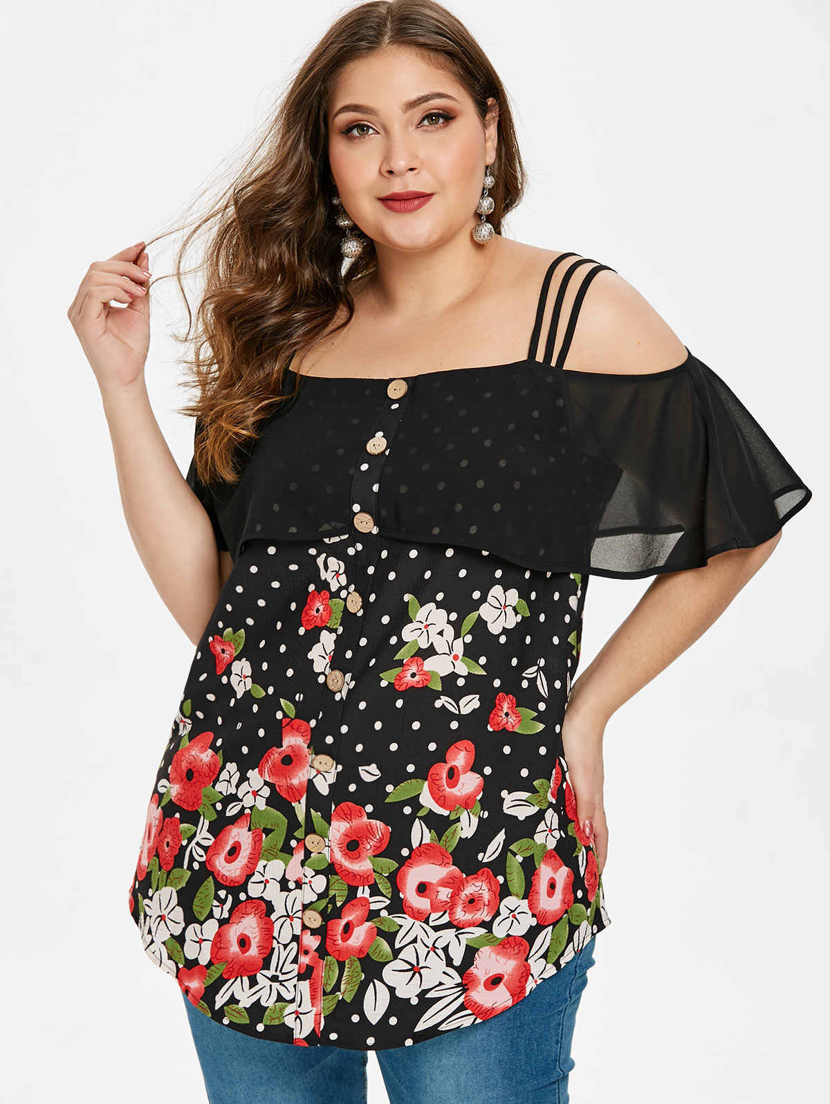 7a709d850a065 Detail Feedback Questions about Wipalo Women Plus Size Cold Shoulder ...