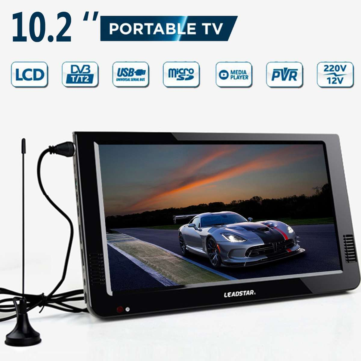 Portable Car Television Outdoor Car 16:9 Digital Analog Television DVB-T / DVB-T2 TFT 10.2'' LED-LCD HD TV Support TF Card Audio