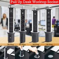4 Power 2 charge US/UK/EU/AU Plug Pull Pop Up Electrical Socket USB Aluminum Shelf LED Desk Worktop Extension Table Home