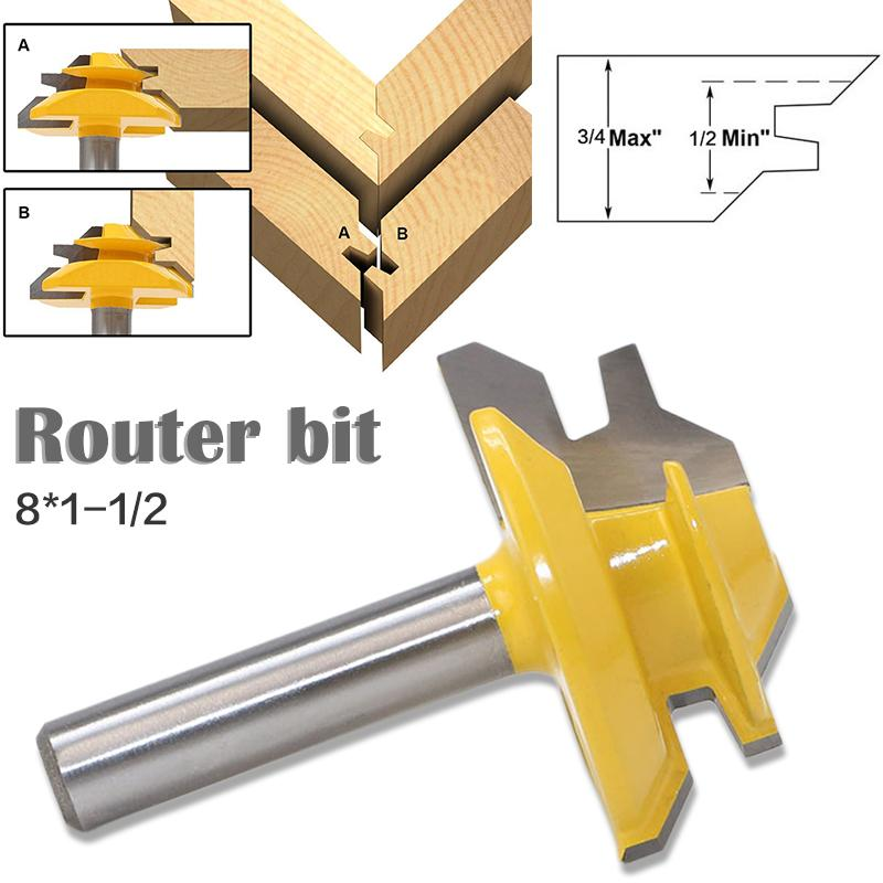 Woodworker Lock Miter Router Bit 45 Degree Width 8*1-1/2 Woodworking Drill Bit 8mm Shank Tenon Cutter Woodwork Milling Cutters