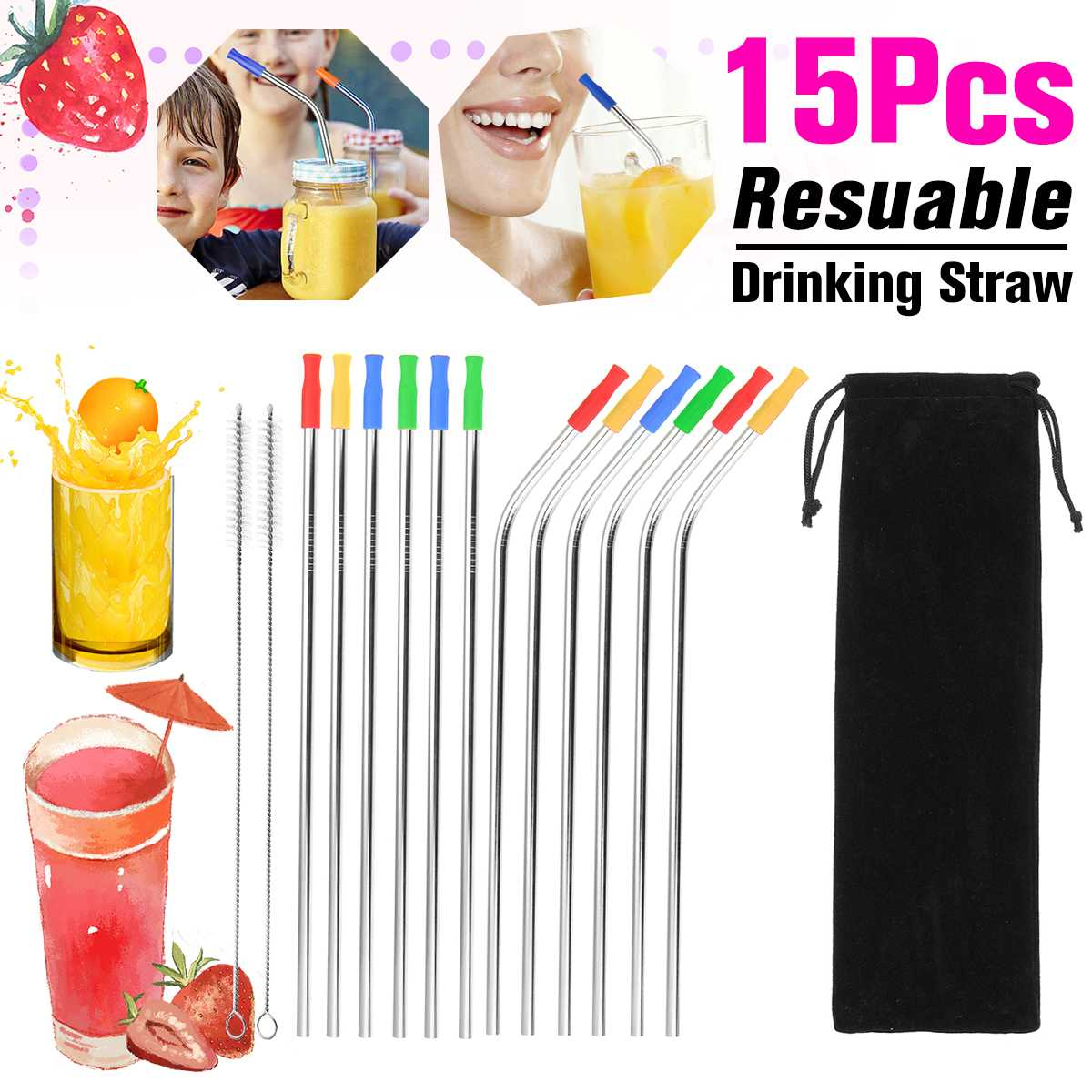 Reusable Drinking Straw Metal Stainless Steel Straws Straight Bend Eco Friendly Straw w/Silicone Tips Brush Home Bar Accessories