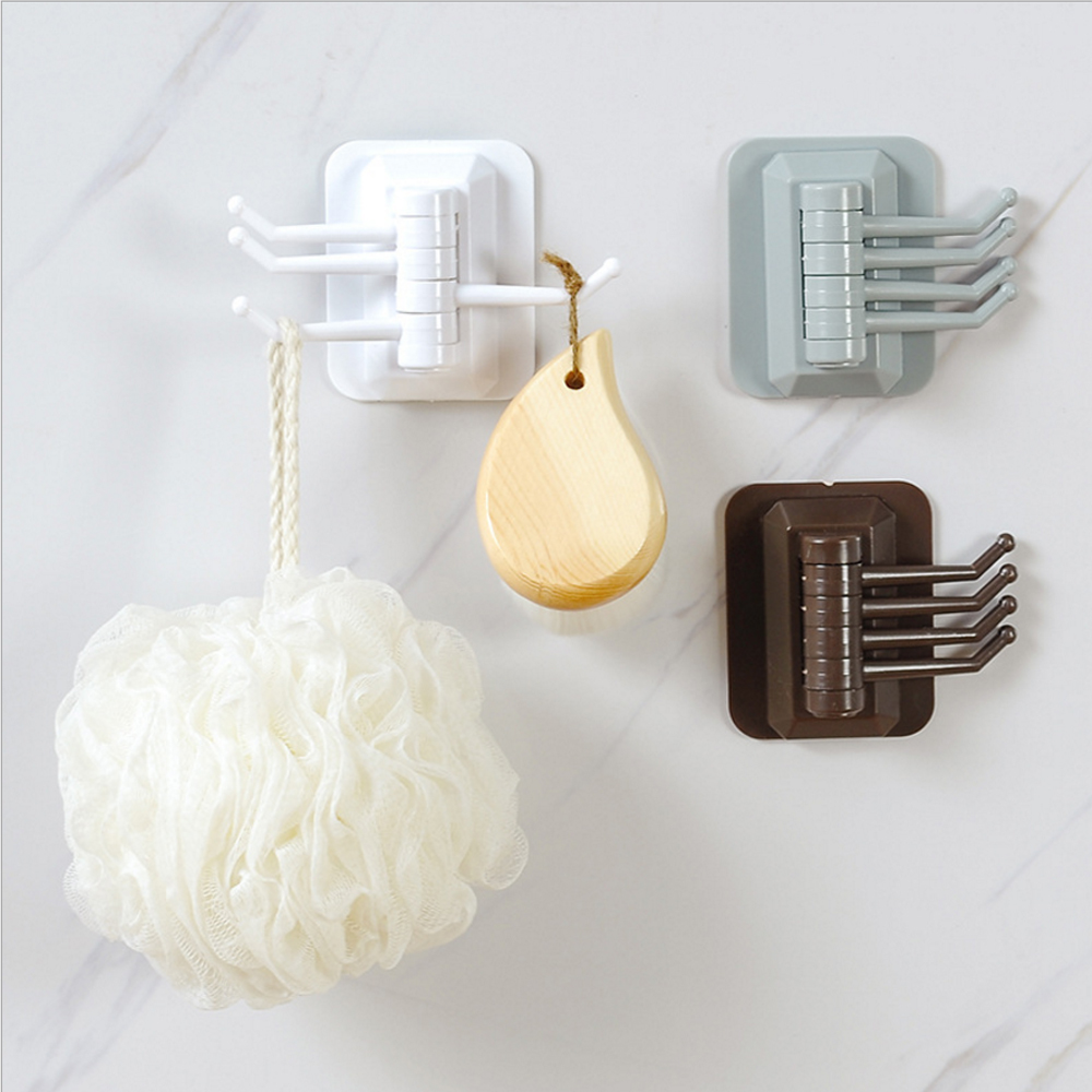 Multi-Purpose Hooks Hanger For Kitchen Bathroom 180 Degree Rotatable Strong Stick Wall Hanger Self-Adhesive Hook  Multifunction
