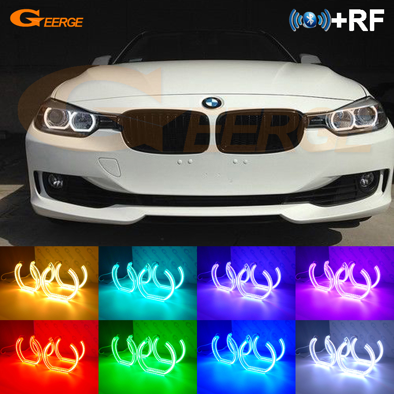 For BMW 3 Series F30 F31 F34 2012-2016 halogen headlight RF Bluetooth Controller DTM Style Multi-Color RGB LED Angel Eye kitFor BMW 3 Series F30 F31 F34 2012-2016 halogen headlight RF Bluetooth Controller DTM Style Multi-Color RGB LED Angel Eye kit
