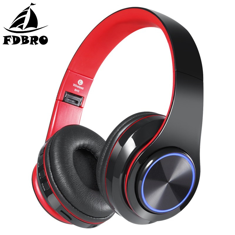FDBRO HiFi Stereo Wireless Bluetooth Earphone Rechargeable Glowing LED Headphone Foldable Sport Headset Gaming Earbuds with Mic