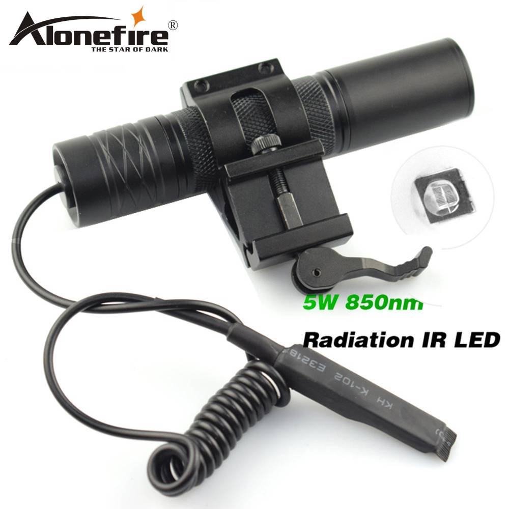 AloneFire Camping Light Hunting Lamp Flashlight IR Lamp 5W Torch 850nm Zoom Infrared Radiation IR LED Night Vision Flashlight