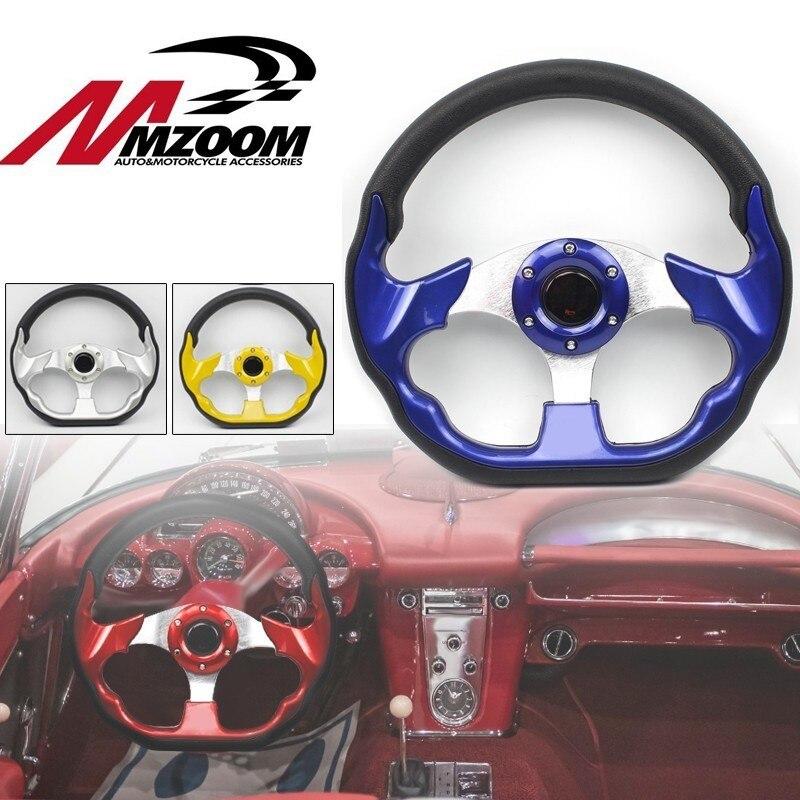 Универсальное 320 мм Высокое качество ПВХ рулевое колесо с кожаной оплеткой гоночный спортивный Авто Руль с роговой кнопкой 12,5 дюймов