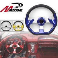 Universal 320mm High quality PVC Leather Steering Wheels Racing Sports Auto Car Steering Wheel with Horn Button 12.5 inches