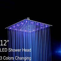 Ceiling Wall Mounted 12 Chrome LED Rainfall Shower Head Square, Ultra thin Luxury Bathroom Showerhead Top Sprayer