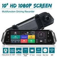 FHD 1080P 10 Car DVR 4G Android GPS Navigation Camera Rearview Mirror Digital Video Recorder Dual Len Car Video Registrator