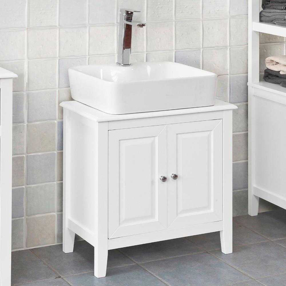 SoBuy  FRG202-W, White Under Sink Bathroom Storage Cabinet With Doors
