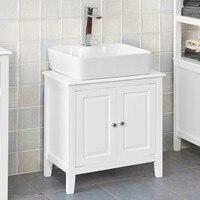 SoBuy FRG202 W, White Under Sink Bathroom Storage Cabinet with Doors