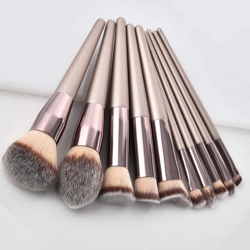 Mewah Champagne Makeup Brushes Set Foundation Bubuk Blush Eyeshadow Concealer Bibir Mata Kuas Make Up Kosmetik Alat Kecantikan