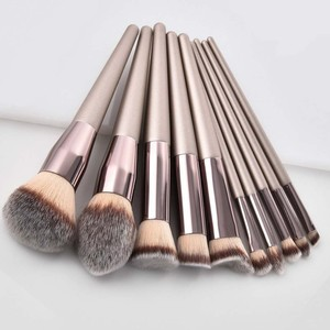 Image 1 - Kit de pinceaux de maquillage de luxe, couleur Champagne, pour poudre de fond de teint, fard à paupières, correcteur, lèvres et yeux, brosses pour produits cosmétiques, accessoires de beauté