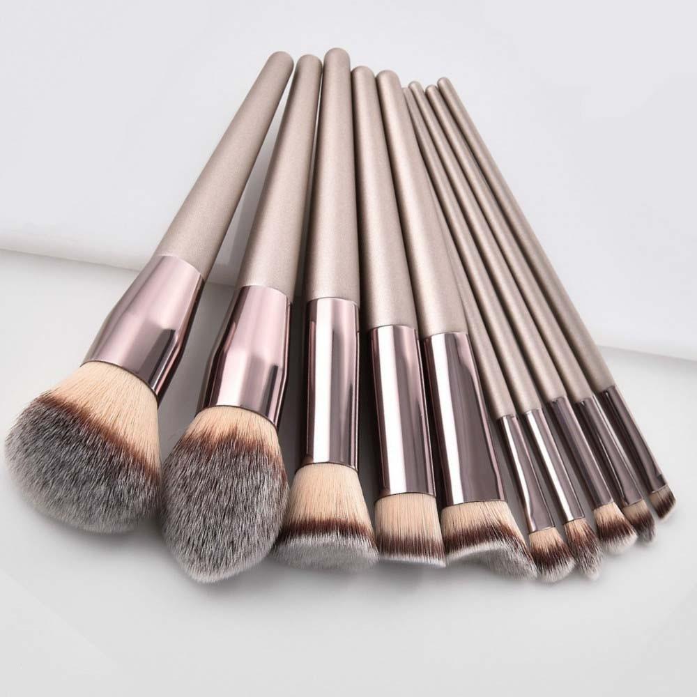 Luxury Champagne Makeup Brushes Set For Foundation Powder Blush Eyeshadow Concealer Lip Eye Make Up Brush Cosmetics Beauty Tools