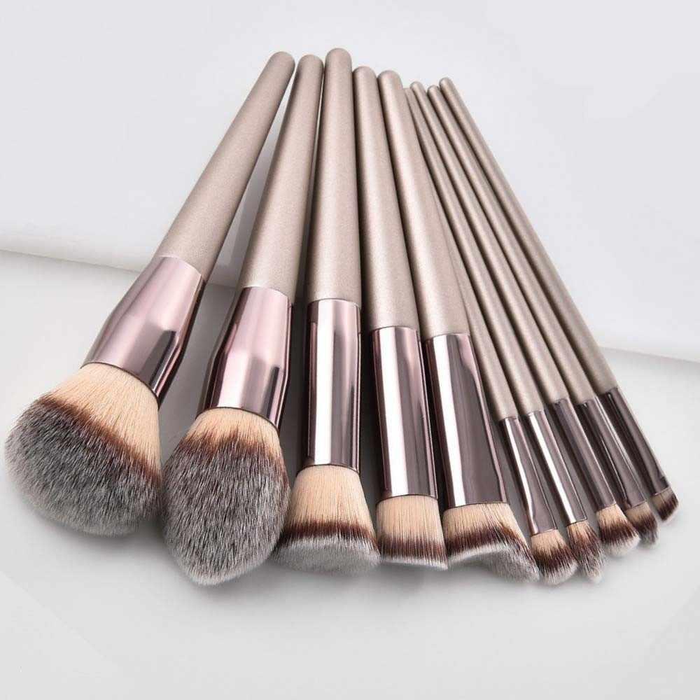 Mewah Champagne Makeup Brushes Set Foundation Bubuk Blush Eyeshadow Concealer Bibir Mata Kuas Make Up Kosmetik Alat Kecantikan