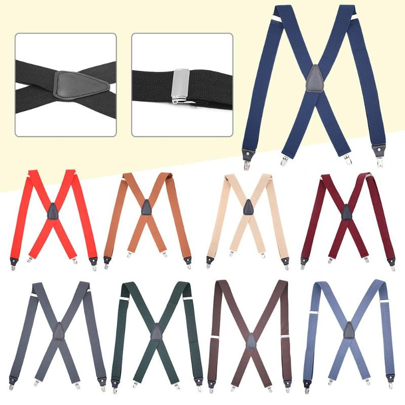 10 Color Men Suspenders Shape 4 Clips Braces Elastic Adjustable Pants Strap Brace