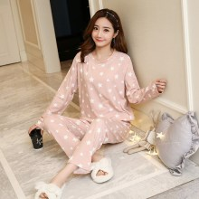 цены Autumn Stars Print Pullover And Pants Pajama Set Pink Long Sleeve Round Neck Casual Pajama Set Night Sleepwear Women Lounge