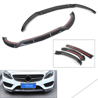 Glossy Black Front Bumper Lip Cover Trims For Benz C Class W205 Sport DP Style 2015 2016 2017 2018 15 16 17 18|Styling Mouldings|   -