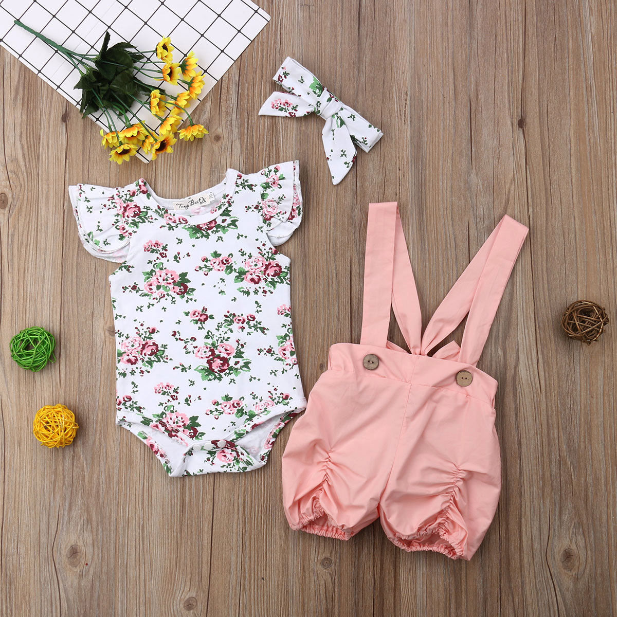 2019 Telotuny Kid Casual Clothing Set Cotton Blend 3Pcs Baby Toddler Girls Kids Overalls Braces+Headband+Romper Clothes Outfits
