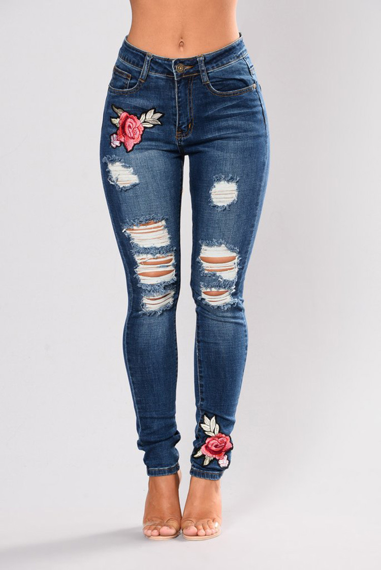 Floral Embroidery Women Jeans Casual High Waist Denim Skinny Jenas Pencil Pants 2018 Elastic Hole Plus Size Jeans Woman image
