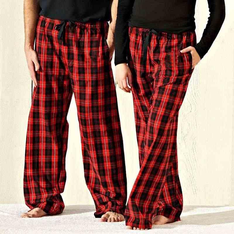 1e8739aeab Las mujeres de los hombres Unisex pijamas de Navidad rojo Plaid Casual  cordón largo pantalones fiesta