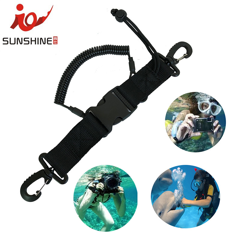 Camera Lanyard Coil Scuba Quick Release Clip Diving cover Underwater Anti-lost spring rope