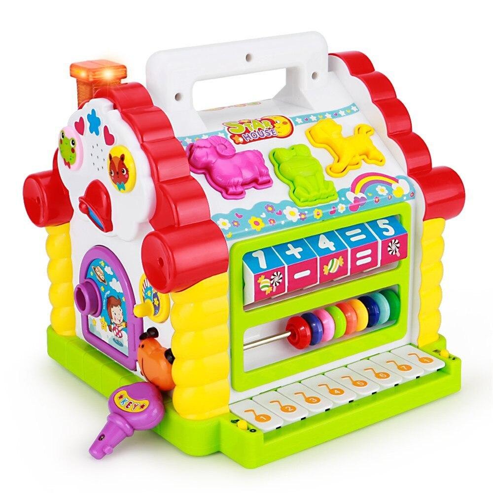 Bloc d'apprentissage géométrique électronique de maison d'amusement de bébé coloré d'intelligence avec la musique pour des enfants jouant le jouet éducatif