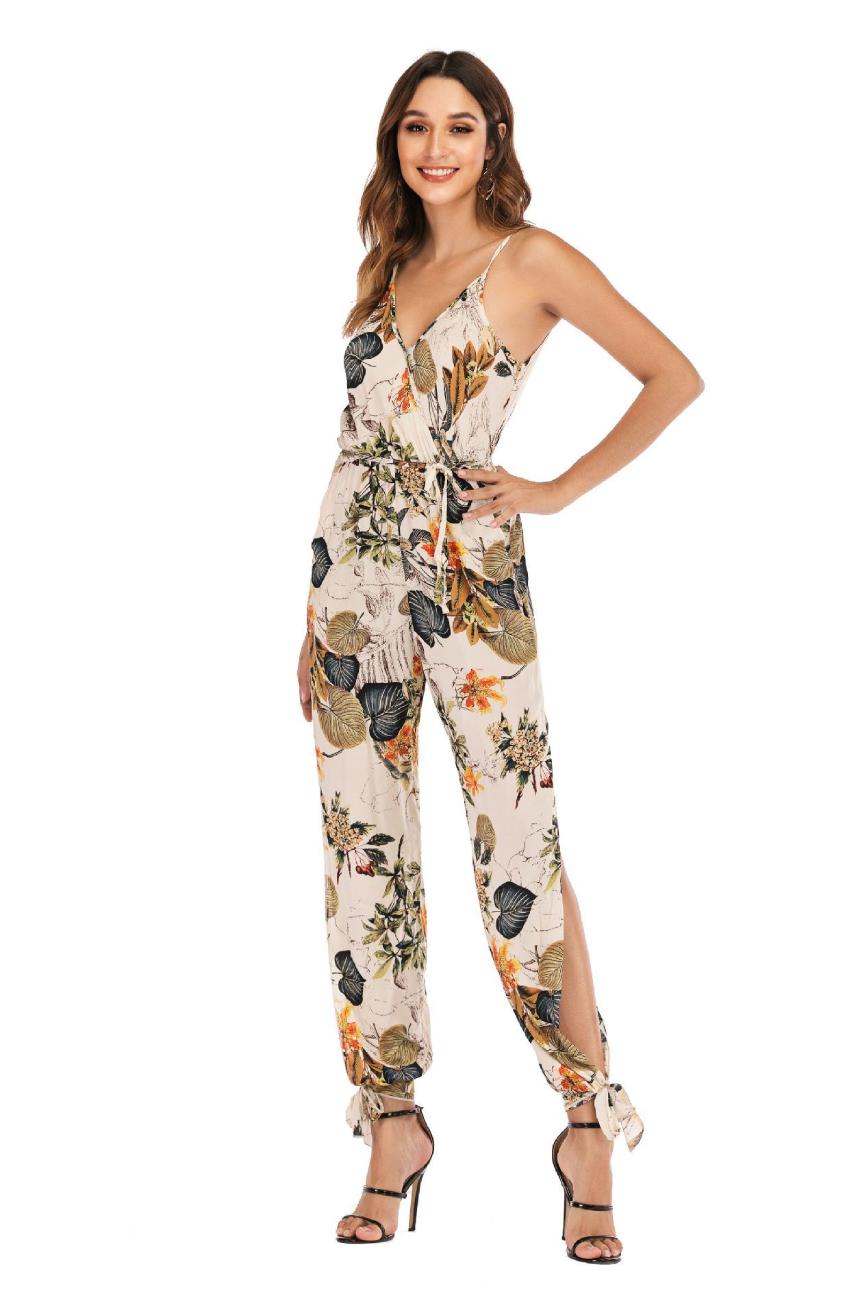 Summer Jumpsuit Sexy Deep V Neck Sleelveless Floral Printing Split Ankle Length Jumpsuit Women Summer Clothes(China)