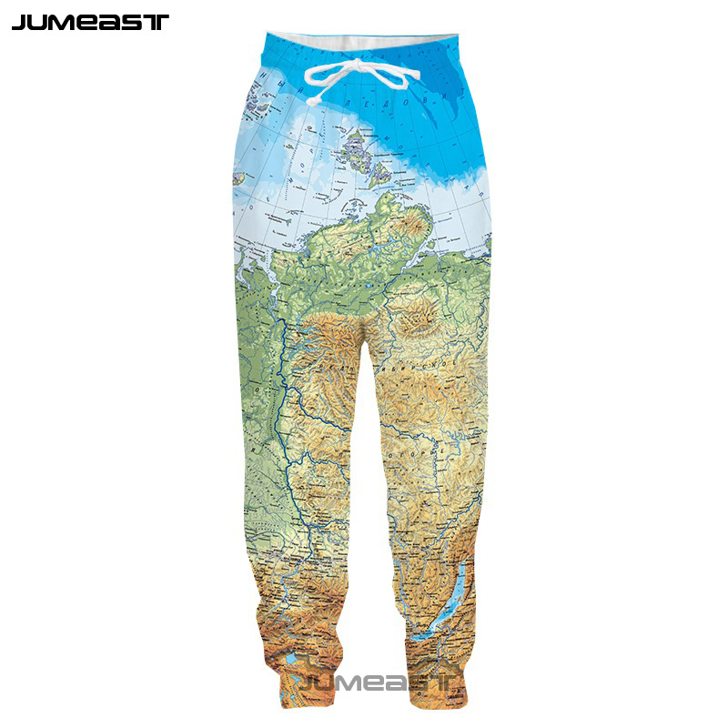 Jumeast 3D Print Personalities The World Map Men/Women Pants Russia Map Casual Sport Loose Size Novelty Casual Long Pants
