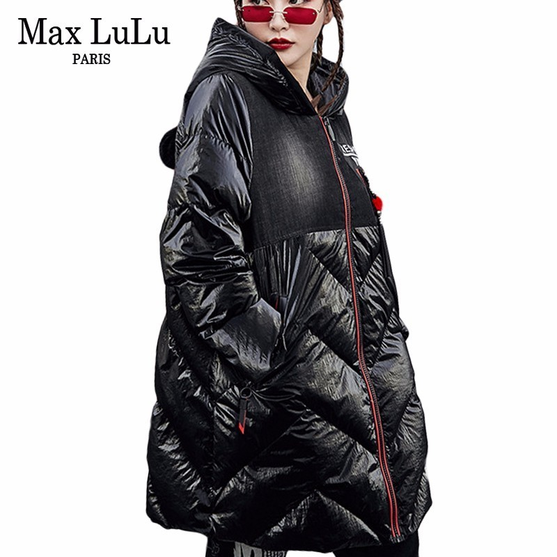 Max LuLu 2018 Famous Brand Korean Ladies Padded Long   Parkas   Mujer Womens Hat Puffer Jacket Warm Clothes Female Winter Denim Coat