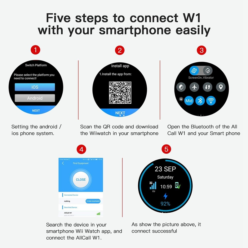 US $146 22 |Standalone Smartwatch W1 HRM, Fitness app, Google Assistant  Android 5 1OS 3G Unlocked Phone Support at&T GPS Built in,BT Heads-in Smart
