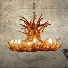 Nordic Candle Antler LED Chandelier Lighting American Vintage Resin LOFT Horn Pendant Lamps Home Decoration Kitchen Fixtures