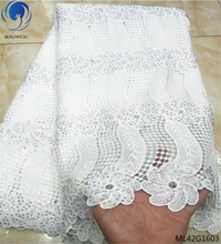 BEAUTIFICAL african cord lace fabrics white fabric laces for nigerian party 5 yards/lot high with rhinestones ML42G16