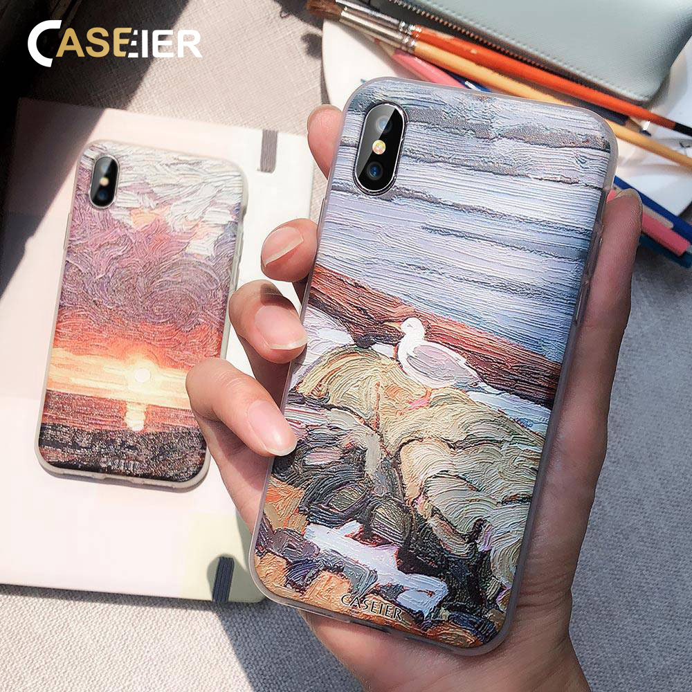 CASEIER Phone Case For Huawei P20 P9 P10 Mate20 Lite P Smart 2019 Oil Painting Embossed Cases Soft TPU Cover Fundas Accesorios in Fitted Cases from Cellphones Telecommunications