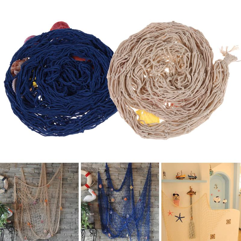 Sailor Style Home Door Wall Hanging Fishing Net Seaside Beach Shell Nautical Party Decoration Sail Wall Net Party Decoration