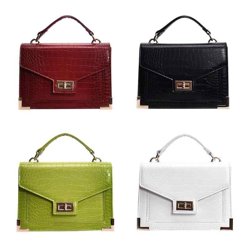 3bbbc00a5723 ... Alligator Square Bag Leather Women Handbag Fashion Female Crossbody  Lock Shoulder Bag Girls Ladies Messenger Bags