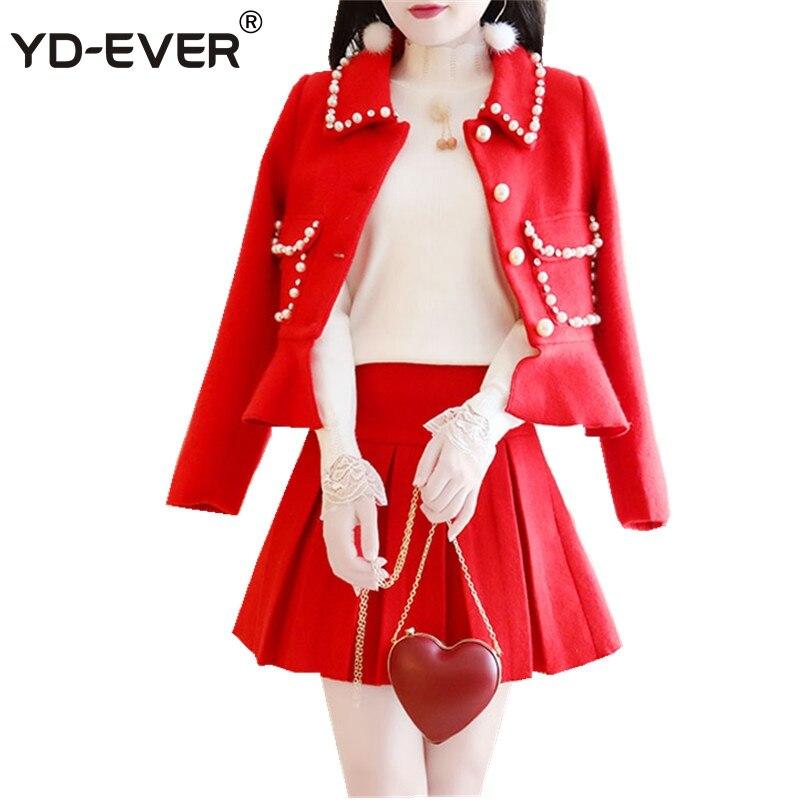Modo Gonna Di Rosso Inverno Vestito Spessore ever Del Increspature Yd white Set Skirt Cappotto Diamanti Borda Donne Che Red Mini Lana Tweed Con Pieghettato Rivestimento Delle Fqz8xX