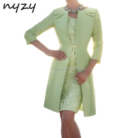 NYZY M119 Mint Green Wedding Party Dresses Mother Elegant 2 Piece Church Suits with Jacket Godmother Gown Mother of the Bride
