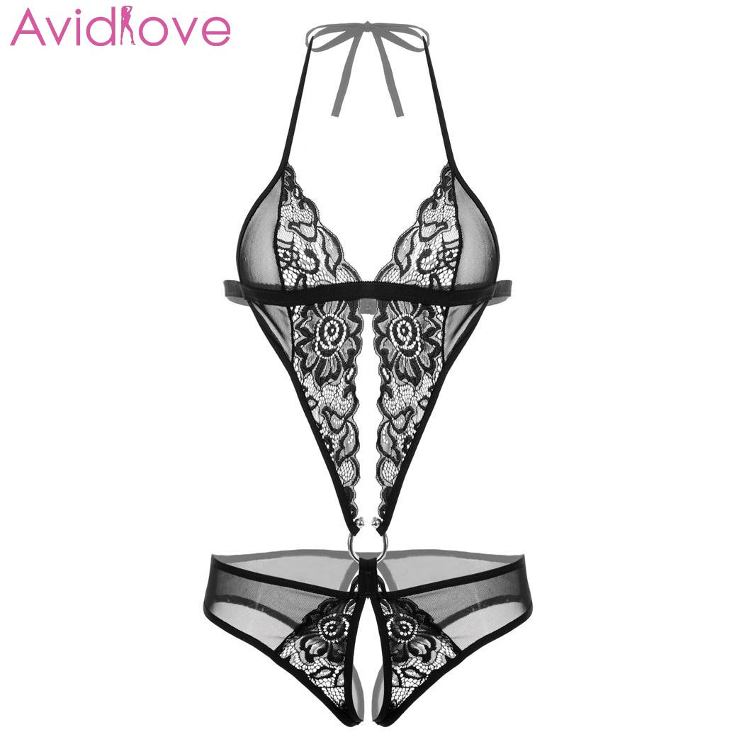 Avidlove Women's Lace Floral Sexy Lingerie Bodysuits Underwear Plus Size Open Crotch Babydoll Catsuit Lingerie Sexy Hot Erotic